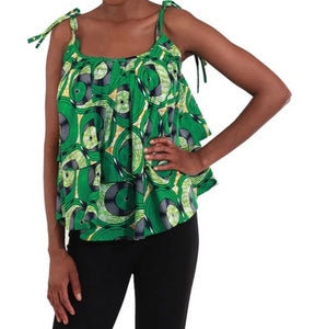 'Think Green!' Layered Ankara Tank Top
