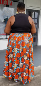 Melange Mode African Flower Maxi Skirt