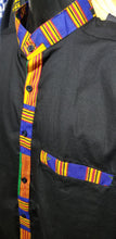 Load image into Gallery viewer, Blue Kente Trim Dress Shirt