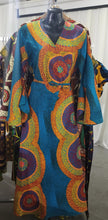 Load image into Gallery viewer, Blue Swirl African Wrap Dress