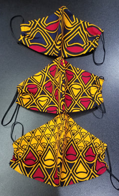 'Diamond Cut' Ankara Glam Face Mask (& Set)