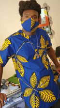 Load image into Gallery viewer, 'Yellow Feather' Ankara Glam Face Mask (& Set)