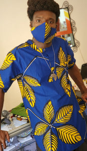 Ankara Delights Men's Yellow Feather Top - Med