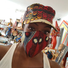 Load image into Gallery viewer, 'Blue Tribal' Ankara Glam Face Mask