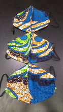 Load image into Gallery viewer, 'Blue Power' Ankara Glam Face Mask (& Set)