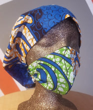Load image into Gallery viewer, 'Blue Power' African Print Surgical Cap & Mask Set