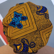 Load image into Gallery viewer, Satin-Lined Ankara Bonnet - Blue Butterfly