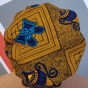 Satin-Lined Ankara Bonnet - Blue Butterfly