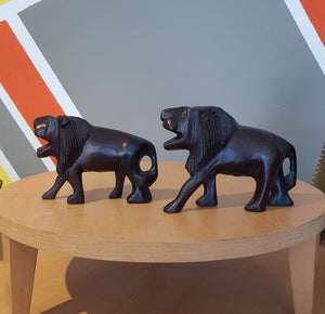 Hand-Carved Wooden Lion Set