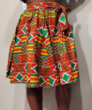 Load image into Gallery viewer, Holiday Red Kente Short Skirt (Pre-Order)