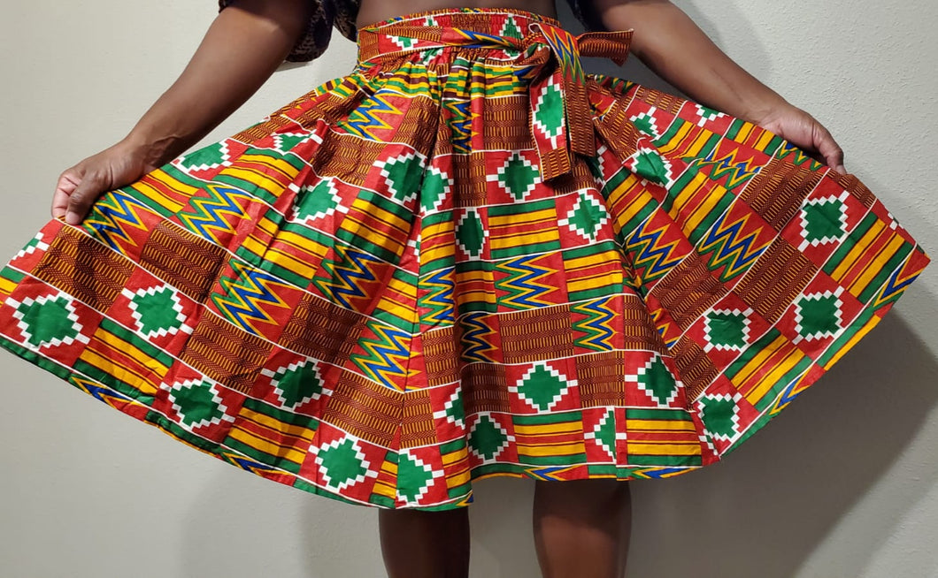 Holiday Red Kente Short Skirt (Pre-Order)