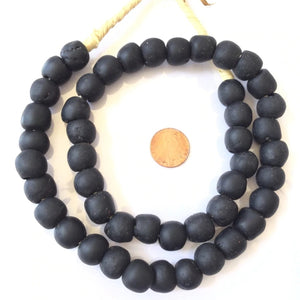 Ghanaian 'Matte Black' Glass Bead Necklace