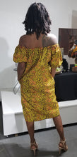 Load image into Gallery viewer, Off Shoulder Fall Vine Ankara Shift Dress
