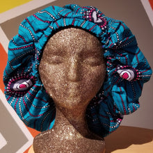 Load image into Gallery viewer, Satin-Lined Ankara Bonnet - Matrix