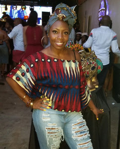Ankara Off-Shoulder Crop Top