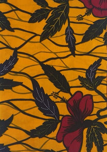 'Hibiscus on Yellow' Head Wrap (1 yd)