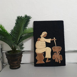 Nigerian Black Velvet Wood Art