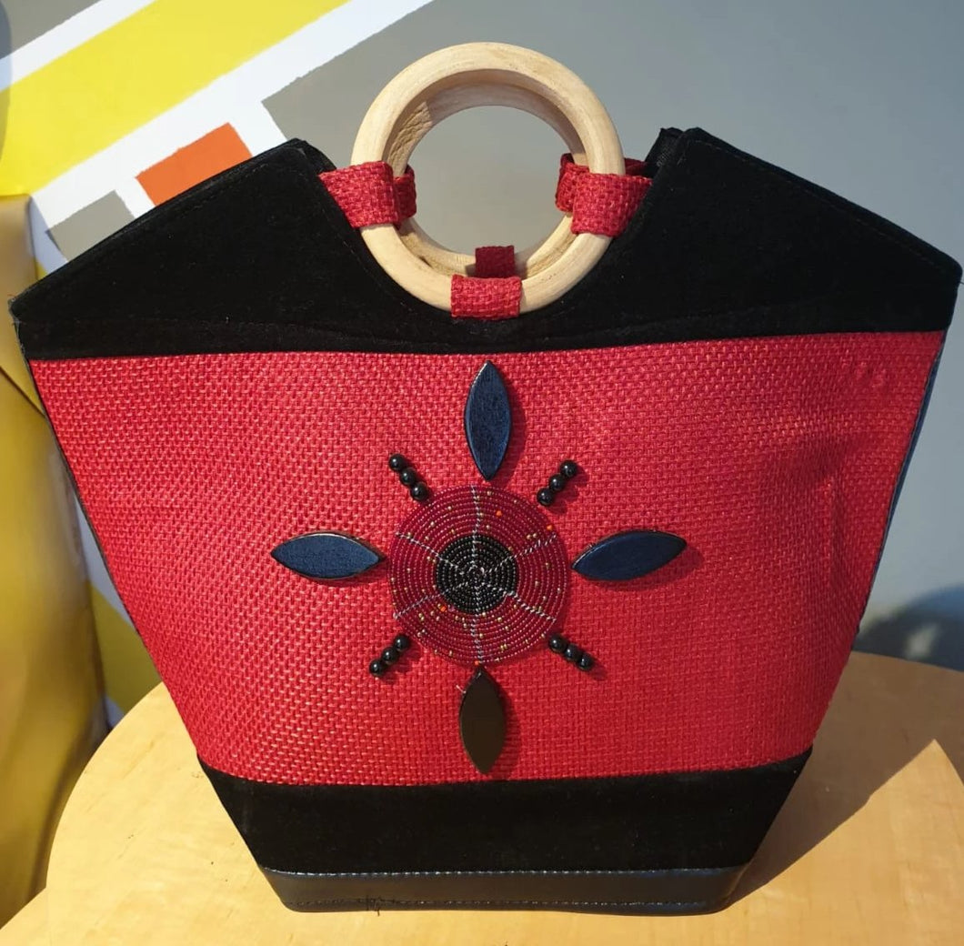Leather Kenyan Handbag - Red/Black