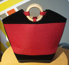 Load image into Gallery viewer, Leather Kenyan Handbag - Red/Black
