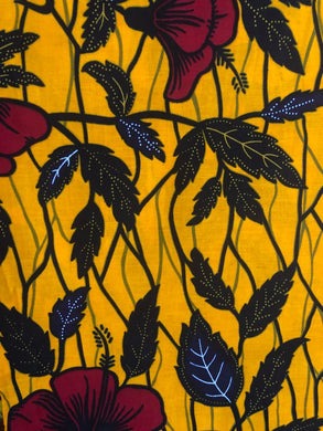 'Hibiscus on Yellow' Ankara Fabric (2 yds)