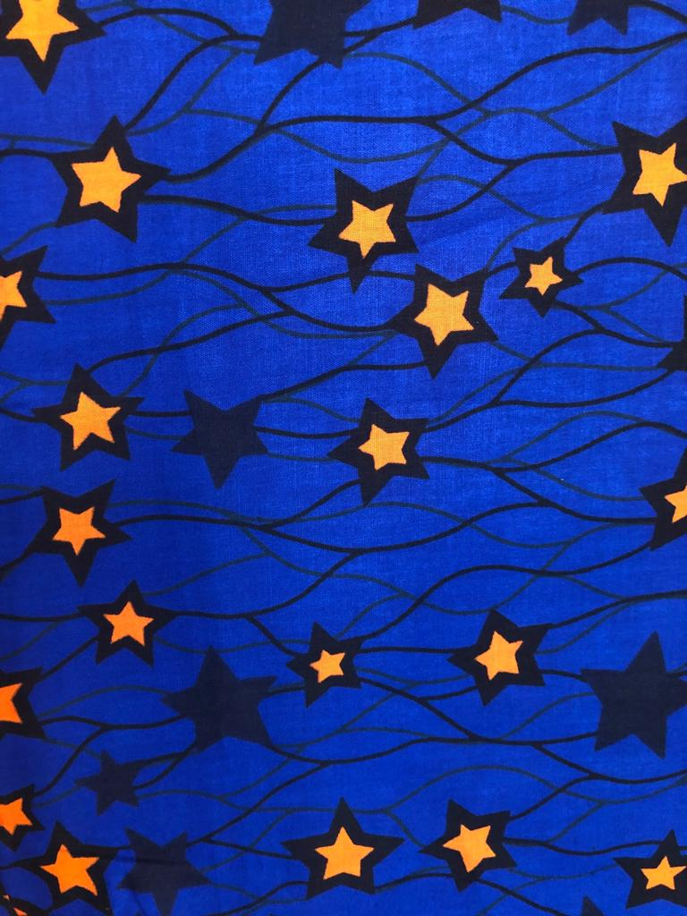 Blue Golden Star Ankara Fabric (2 yds)