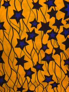 Golden Blue Star Ankara Fabric (2 yds)