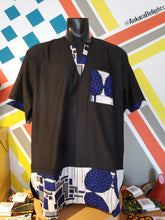 Load image into Gallery viewer, Ankara Delights Men's Blue Geo Top