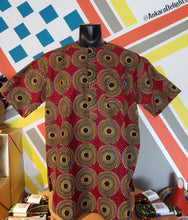 Load image into Gallery viewer, Ankara Delights Men's Red Circle Print Top