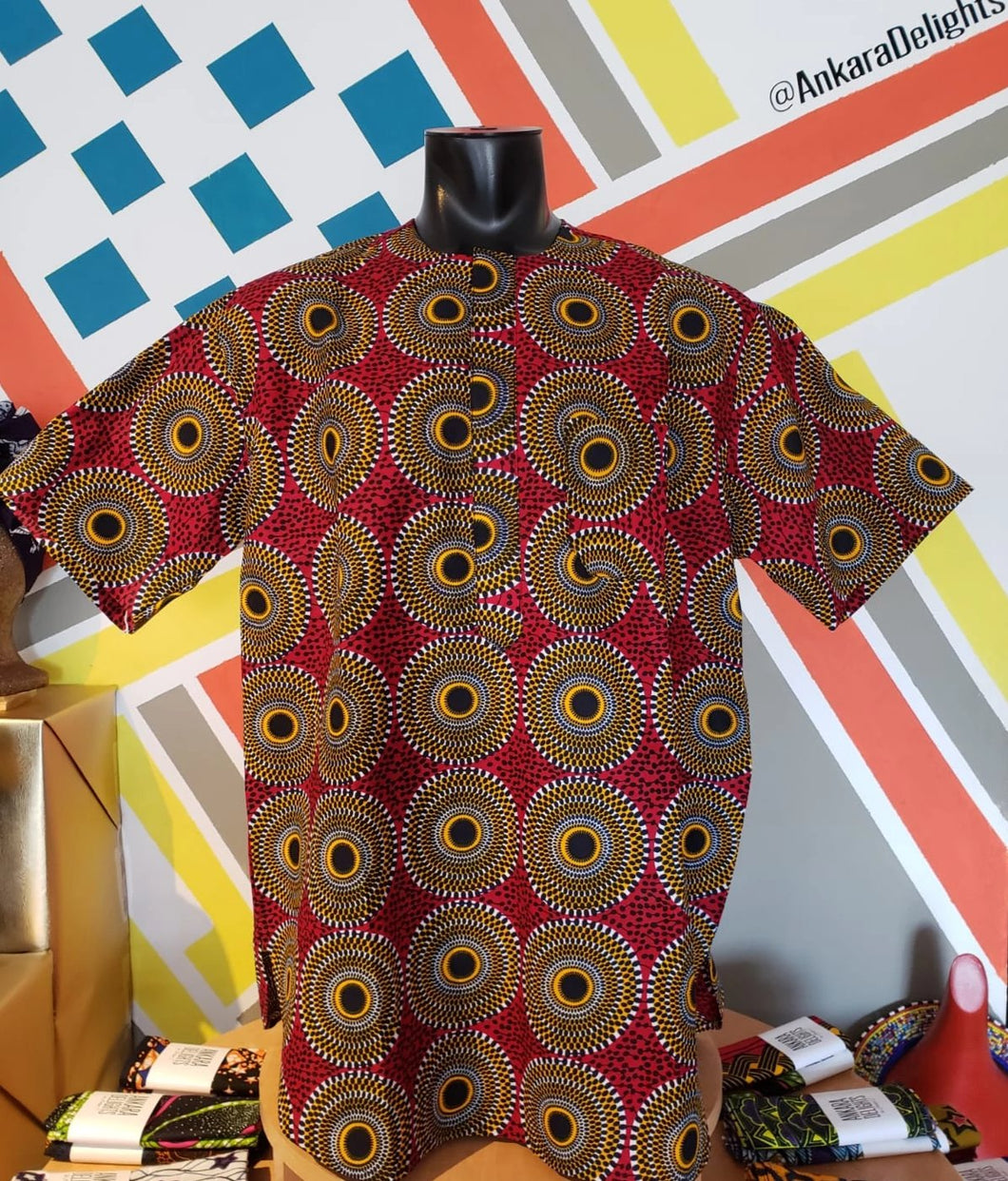 Ankara Delights Men's Red Circle Print Top