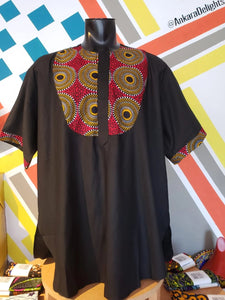 Ankara Delights Men's Circle Print Accent Top