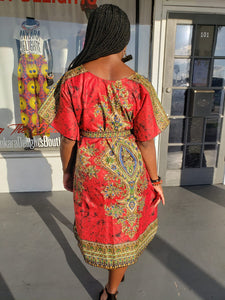 Festive Red Trad Print Shift Dress
