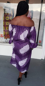 Off Shoulder Purple Snow Ankara Shift Dress