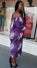 Load image into Gallery viewer, Off Shoulder Purple Snow Ankara Shift Dress
