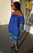 Load image into Gallery viewer, Off Shoulder Blue Batik Print Shift Dress