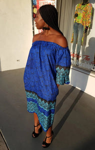 Off Shoulder Blue Batik Print Shift Dress