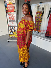 Load image into Gallery viewer, Off Shoulder Fall Leaf Ankara Shift Dress