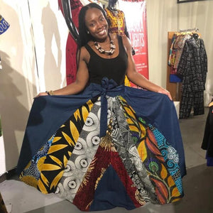 Denim Ankara Patch Maxi Skirt