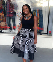 Load image into Gallery viewer, Black & White Ankara Midi Skirt