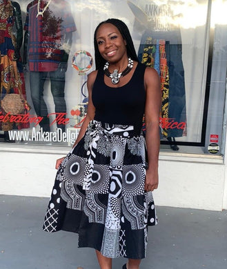 Black & White Ankara Midi Skirt