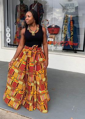 Patchwork Kente Print Maxi Skirt