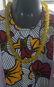 Ghanaian 'Sunshine Yellow' Glass Bead Necklace
