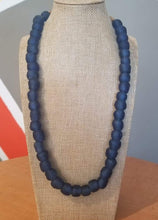 Load image into Gallery viewer, Ghanaian 'Dark Blue' Glass Bead Necklace
