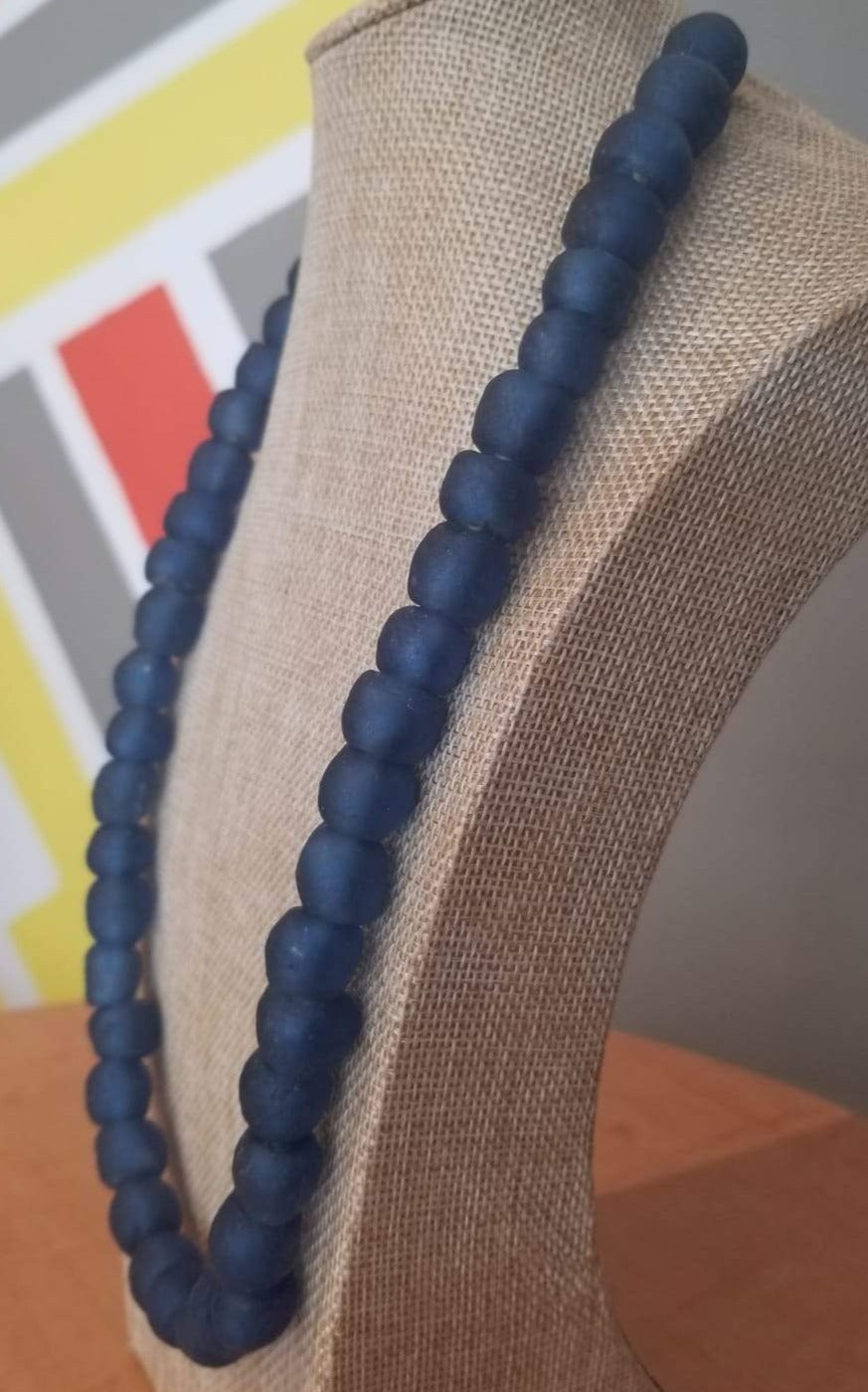Ghanaian 'Dark Blue' Glass Bead Necklace