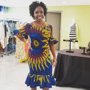 Blue 'Anwu' Elastic Dress