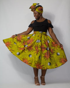 Yellow 'Palm Branch' Ankara Midi Skirt