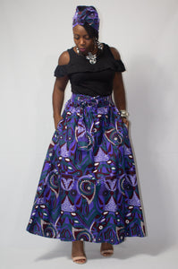 Purple Abstract Ankara Print Maxi Skirt