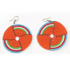 Circle Beaded Maasai Earrings