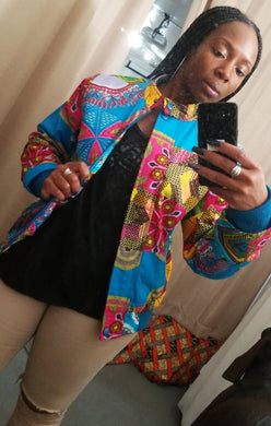 Unisex Ankara Patch Bomber Jacket