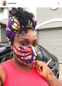 'Purple Power' Ankara Glam Face Mask (& Set)