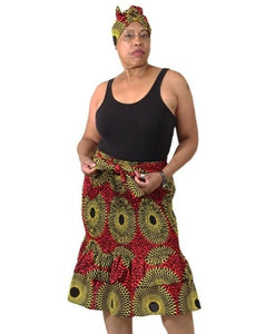 African Print Stretch Mermaid Skirt - Red/Yellow - Pre-Order